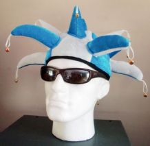 JESTER HAT : SKY BLUE & WHITE